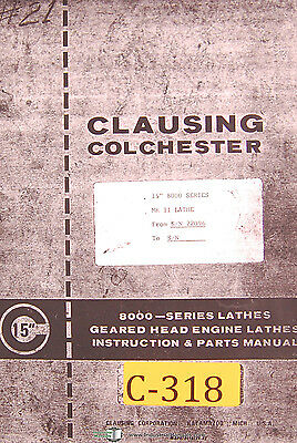 Clausing Colchester 15 8000 Series Mkii Lathe Instruction Parts Manual 1978
