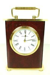 Howard Miller Mantel Desk Clock Rosewood Hall Brass-Finished Top & Base