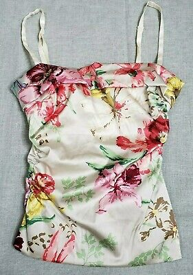 Vintage 90s DOLCE GABBANA Floral Bustier Top Italy Size 38 US size 0-2