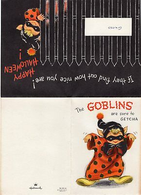 1960's HALLOWEEN GREETING CARD, HALLMARK, MADE IN U.S.A. THE GOBLINS ARE - 1960s Halloween Cards