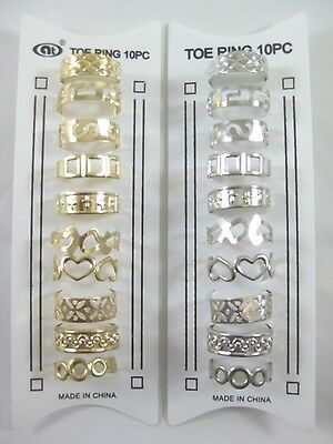 Ornate Plated Gold & Silver 10 Piece Toe Ring Sets #R1157A