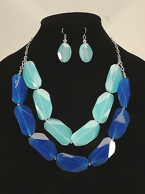 New Turquoise & Blue Bead Statement Necklace & Earring Set #N2302