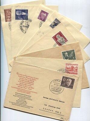 Berlin 115-117,119-120,122,124-125 auf 8 amtlichen FDCs Jahr 1954 kompl.(B07978)