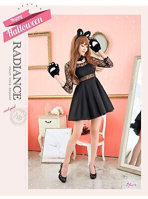 Adult Women Sexy Cute Kitty Black Cat Sweet Costume Fancy Dress Halloween Outfit