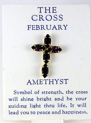 6030261 February Amethyst CZ Birthstone Cross Lapel Pin Christian Tie Tack -