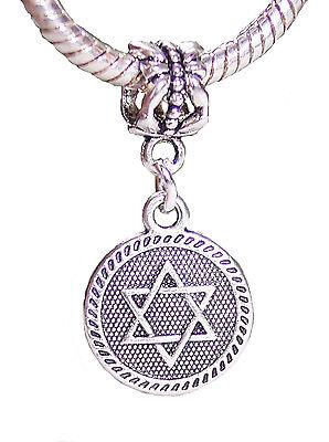 Jewish Star of David Medallion Dangle Charm for Silver European Bead Bracelets - Jewish Star Charm