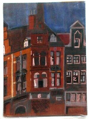Original soft pastel painting of Dutch buildings, undamaged in good condition