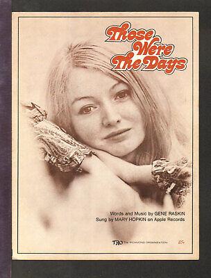 Those Were The Days 1968 MARY HOPKIN Vintage Sheet Music (Those Were The Days Piano Sheet Music)