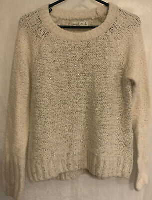ABERCROMBIE & FITCH A&F WHITE SPARKLY TOP LONG SLEEVE SWEATER SIZE M