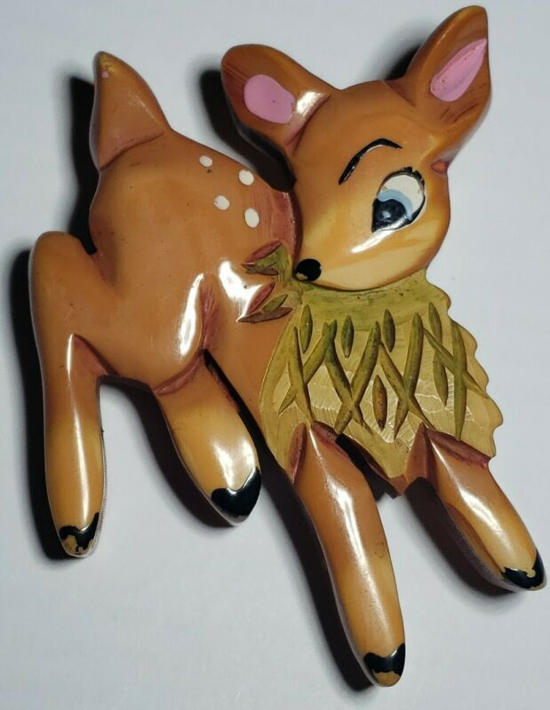 Martha Sleeper Bakelite Bambi Deer • Brooch/Pin (2 of 2)