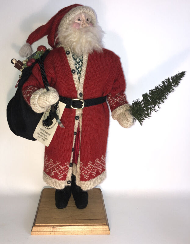 """Vintage Hand Made Christmas SANTA 17"""" w/Sack Of Toys signed by Artist w/Tag OOAK"""