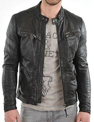 New 100% Leather Jacket Coat Men Slim Men's Outwear Black Biker Moto - Men Leather Coats