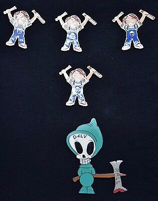 Collectible New Berry KL CL Chucky Lapel Pins + Ghost D4LV RRLL Emblem LOT of 5