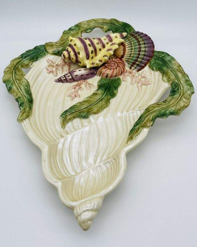 """Fitz And Floyd Classic Hand Painted  Nautilus Shell """"Oceana"""" Plate"""