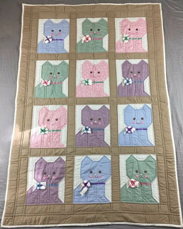 "Vintage Antique Quilt 59""x40"" Kittens Cats Nursery Display ADORABLE"