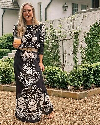 Johanna Ortiz X H&M Black Leaf Print Maxi Dress Small (8/10) SOLD OUT BLOGGERS