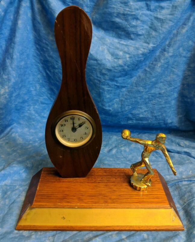 1960's FLORN Germany Bowling Clock Wood Base Wind Up