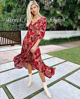 H&M JOHANNA ORTIZ Beige/Leaf Print Crêpe wrap dress Size S_M_L