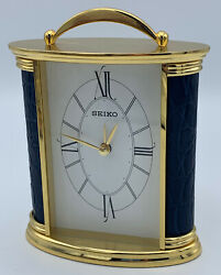 Seiko Desk And Table Alarm Carriage Clock Gold-tone Metal Case Blue Crocodile
