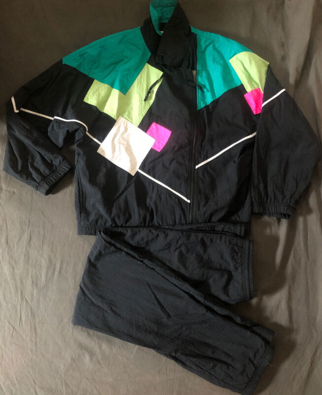 Vintage Head Windbreaker Jacket With Pants Track Suit 2 Piece M MULTI-COLOR 90s