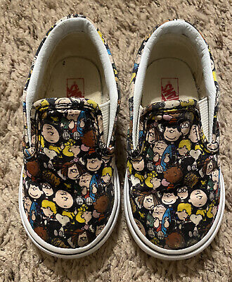 Vans Off The Wall Toddler Boys Peanuts Gang Charlie Brown Shoes size 6 Snoopy