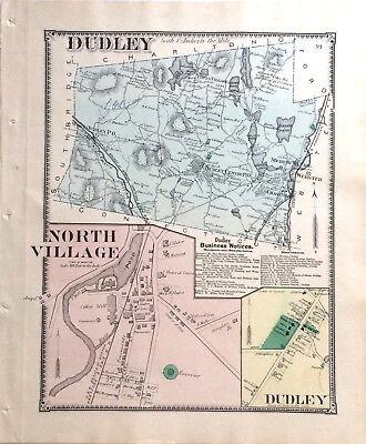MAP 1870 DUDLEY & NORTH VILLAGE MASSACHUSETTS ORIGINAL 1870 ANTIQUE COLOR BEERS