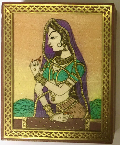 AMAZING GEMSTONE PAINTING WOOD & BRASS TAROT OR ANYTHING BOX * DIVINATION WICCAN