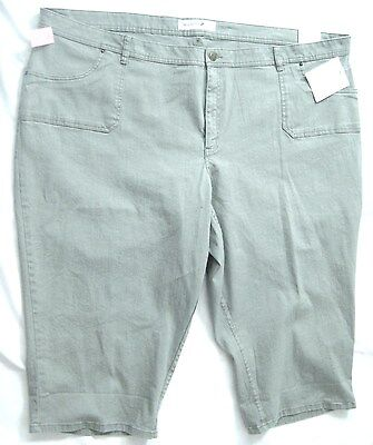 Fashion Bug Womens Plus Size 32w Gray Olive Stretch Capri Cropped $44