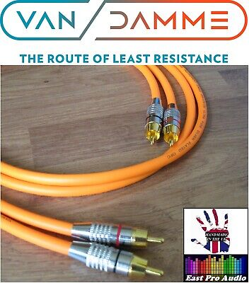 1m Pair - Van Damme RCA Phono Cables - Pro Grade Silver...