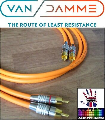 0.5m Pair - Van Damme RCA Phono Cables - Pro Grade Silver...