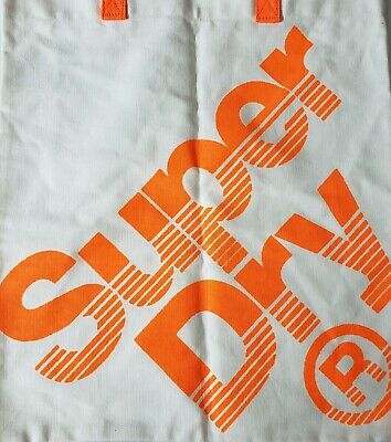 SuperDry Canvas Tote Bag orange and white