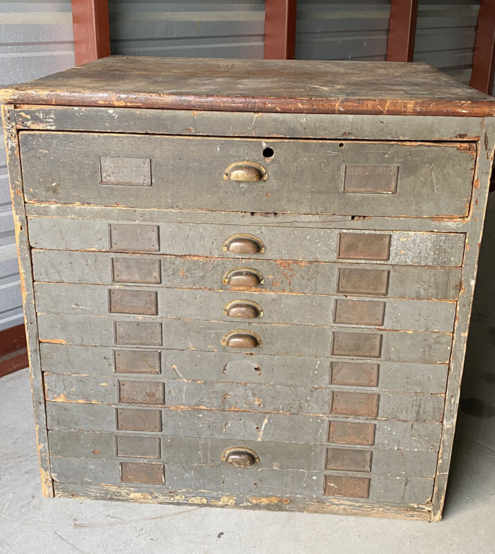 "Antique 10 Drawer Cabinet ~ 32.5""H x 32.5""W x 29.5""D ~ Kitchen Counter? Storage!"