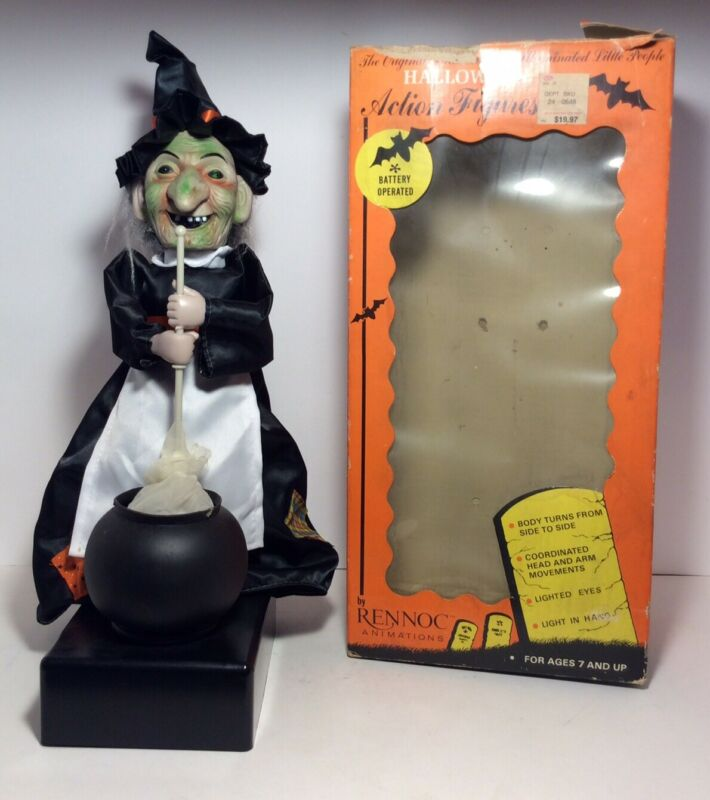 "Vtg Rennoc 18"" Motion Light Up Activated Halloween Witch Stirring Caldron WORKS"