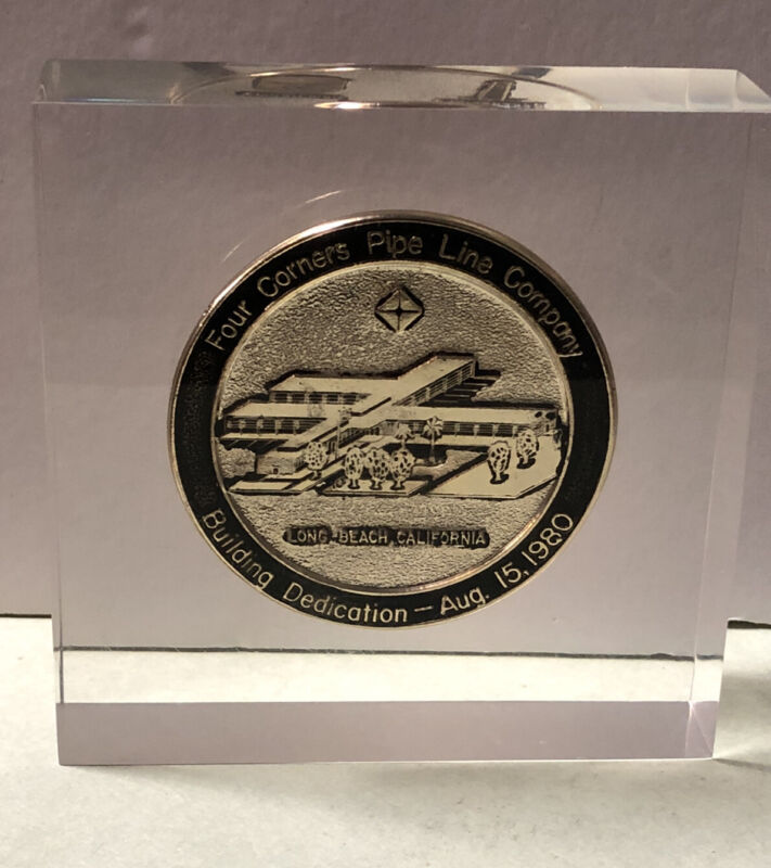 ARCO Four Corners Pope Line Co Building Dedication Coin in Acrylic Paperweight