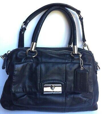 COACH Kristin Black Leather Double Handle Satchel Doctor Zip Shoulder Bag 14782