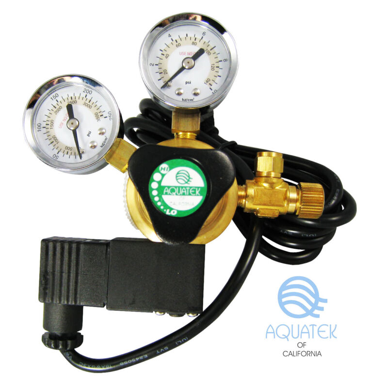*NEW* Premium AQUATEK Aquarium CO2 Regulator with Integrated COOL TOUCH Solenoid