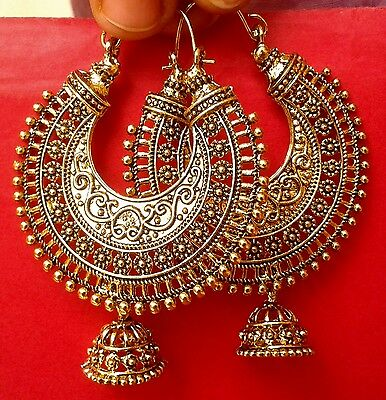 Traditional Bollywood Oxidized Gold Tone Jhumka Earring Ethnic Indian Jewelry