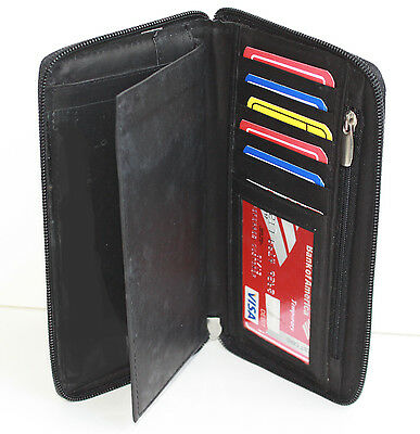 Black Leather Checkbook Cover Organizer - Black Leather Men Lady Checkbook Cover Holder Organizer Zip Around Wallet