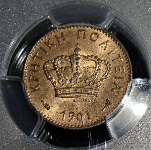 Crete: Prince George Lepton 1901-A MS64 RB PCGS.