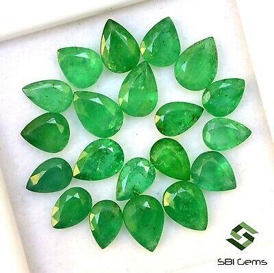 Certified Natural Emerald Pear Cut Upto 7x5 mm Lot 20 Pcs Unheated Gemstones