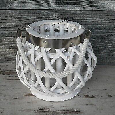 Windlicht 20cm groß Rattan und Glas weiß Laterne Korb Natur Hochzeit modern