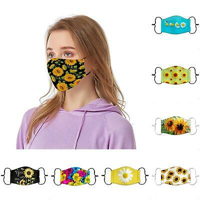 Unisex Adult Sunflower Reusable Adjustable Safety Face Mouth Cover Mask Exotic Accessories