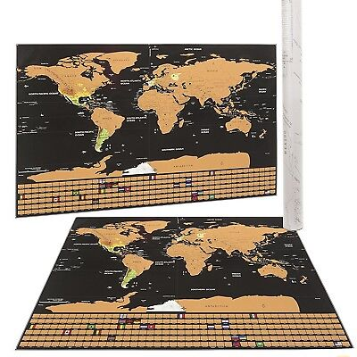 Mojco Scratch Off World Map Poster US States & Country Flags Size Large USA SHIP