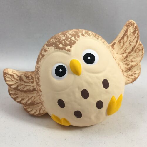 "Japanese 2.5"" Dancing Lucky FUKURO Owl Ornament Figure Earthenware Made in Japan"