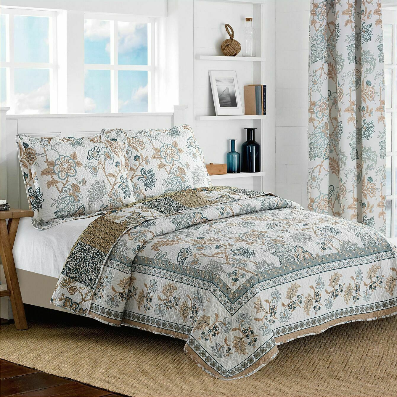 new reversible floral printed blue white bedspread