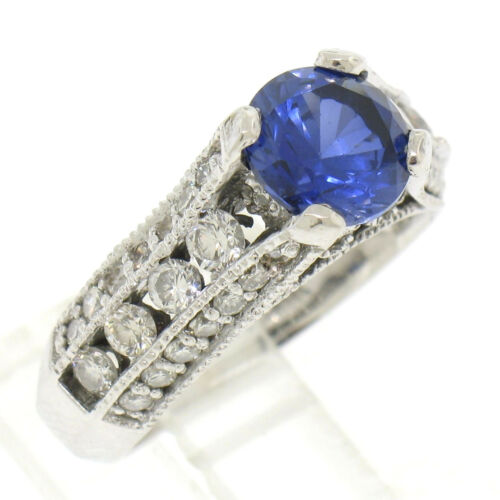 14k White Gold 2.50ctw Fine Tanzanite Solitaire Round Diamond Open Milgrain Ring
