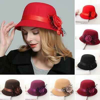 Winter Women Ladies Hat Vintage Wool Round Flower Cloche Felt Bowler Cap Welcome Clothing, Shoes & Accessories