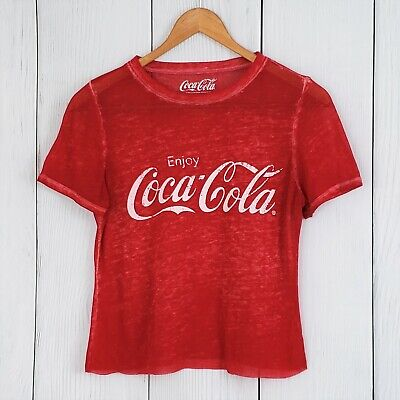 COCA COLA sz XS Red Cropped Burnout Tee T-Shirt Distressed Faded Top Coke
