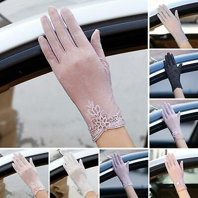 Summer Driving Women Touch Screen Sunscreen Gloves Anti-UV Sheer Lace Mittens M Clothing, Shoes & Accessories