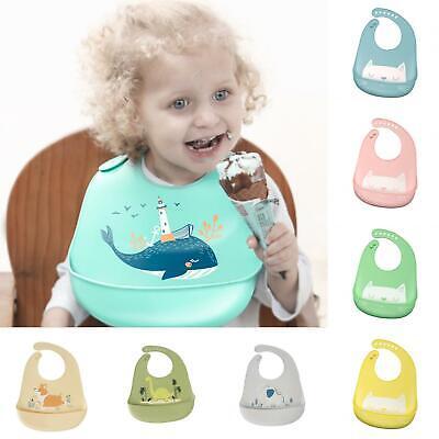 Waterproof Baby Soft Silicone Bibs Feeding Bib Kids Roll Up Food Catcher Apron